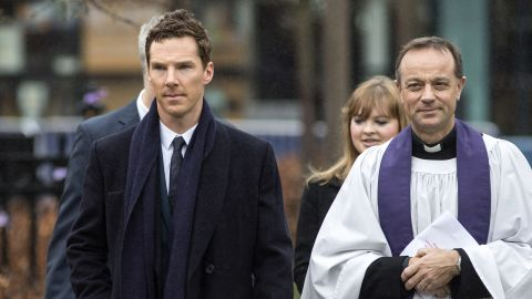 Actor Benedict Cumberbatch arrives at the cathedral. Cumberbatch, a distant cousin of Richard III, read a poem dedicated to the King that was written by Poet Laureate Carol Ann Duffy.