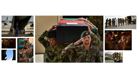 This photo montage by Young illustrates how the Afghan air force evacuates its wounded and fallen personnel.