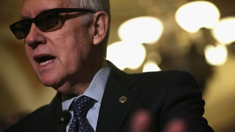 U.S. Minority Leader Sen. Harry Reid (D-NV) speaks to members of the media after the weekly Democratic Policy Luncheon March 24, 2015 at the U.S. Capitol in Washington, DC. Senate Democrats held the luncheon to discuss Democratic agenda.