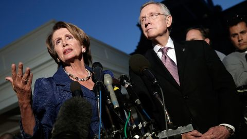 U.S. House Minority Leader Rep. Nancy Pelosi, D-California, and Reid speak to the media after a meeting at the White House with Obama about the 2013 government shutdown.