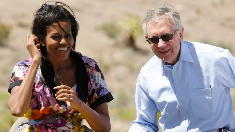 First lady Michelle Obama and Reid appear at the Red Rock National Conservation Area during an event to help launch Obama's Let's Move Outside! initiative to promote more outdoor activity for children June 1, 2010.
