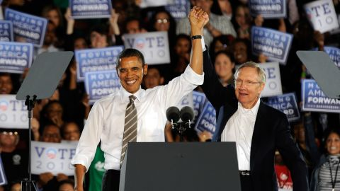 Obama and Reid appear at a campaign rally at Orr Middle School Park October 22, 2010, in Las Vegas.