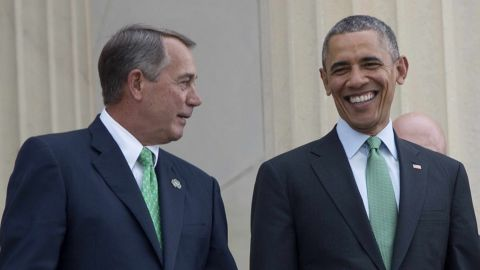 U.S. President Barack Obama walks with Speaker of the House John Boehner as they depart the annual Friend's of Ireland luncheon on Capitol Hill in Washington on March 17.