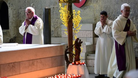 A memorial service is held at the Notre Dame du Bourg cathedral in Digne-les-Bains, France, on March 28.