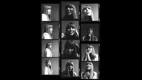 A contact sheet from 1968 captures images of Joni Mitchell as the waiflike folk singer who would soon become a major force in pop music. Click through the gallery to see more images from her amazing career.