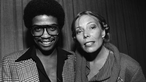 Mitchell joins Herbie Hancock backstage in Berkeley, California, in 1982.