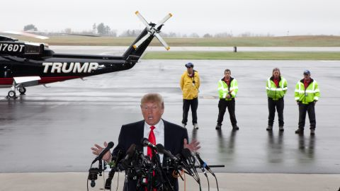 Trump speaks to the media at Pease International Tradeport on April 27, 2011, in Portsmouth, New Hampshire.