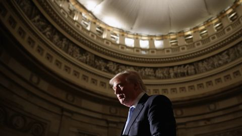 Donald Trump attends golf legend Jack Nicklaus' Congressional Gold Medal ceremony on March 24, 2015, in the U.S. Capitol Rotunda. Trump announced on March 18 that he had launched a presidential exploratory committee.
