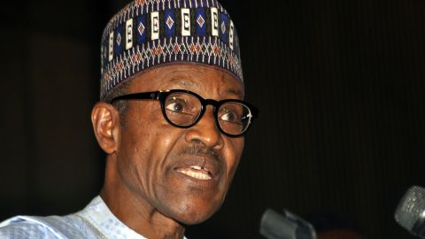 Nigeria's President-elect Mohammadu Buhari speaks after receiving his certificate of return from Independent Nigeria Electoral Commission (INEC) in Abuja, on April 1, 2015. Nigeria's president-elect Muhammadu Buhari today sought to reconcile past differences with incumbent Goodluck Jonathan, extending a hand of friendship to his beaten election opponent. AFP PHOTO / STRINGERSTRINGER/AFP/Getty Images