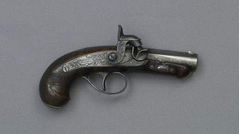 """Booth used this single-shot .44-caliber derringer, which could be slipped inside a pocket, from close range. The weapon is in the Ford's Theatre exhibit """"<a href=""""http://www.fords.org/event/silent-witnesses"""" target=""""_blank"""" target=""""_blank"""">Silent Witnesses: Artifacts of the Lincoln Assassination</a>."""" Tracey Avant, curator of the exhibit (through May 29), said the items are from many people who were at the play, and the focus is not on Booth and his conspirators. Still, """"we felt we couldn't do this without the derringer."""" Booth famously uttered """"Sic semper tyrannis"""" (""""Thus always to tyrants"""") after he leaped to the stage, breaking his leg."""