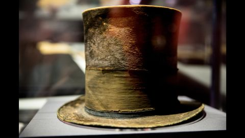When we think of Abraham Lincoln, we most likely picture him wearing one of his trademark stovepipe top hats. This one he wore to Ford's Theatre that night had a mourning band for son Willie, who died in February 1862 at age 11, probably of typhoid fever. Avant said this gesture and a pair of eyeglasses Lincoln repaired with twine show his humanity.