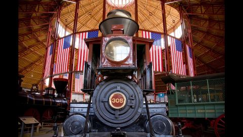 """The train bearing the body of President Lincoln made its first stop in Baltimore. The B&O Railroad Museum has several Civil War-era locomotives and cars, including this engine built four years after Lincoln's death. The museum will have a funeral cortege re-enactment <a href=""""http://www.borail.org/Civil-War.aspx"""" target=""""_blank"""" target=""""_blank"""">on April 18-19</a>, along with artifacts and exhibits related to the assassination."""