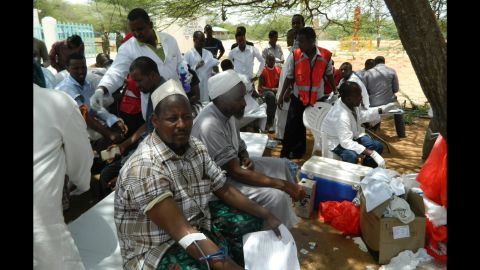Local residents donate blood at a hospital in Garissa on April 2, 2015.