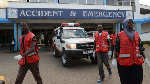 Members of the Kenyan Red Cross gather outside a hospital in Nairobi to receive victims of the attack on April 2, 2015.