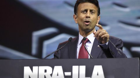 Jindal, a gun rights advocate, speaks during the National Rifle Association Annual Meeting Leadership Forum on April 25, 2014 in Indianapolis.