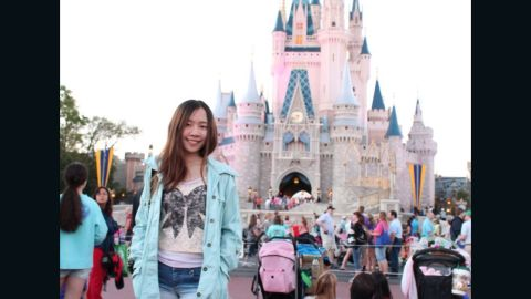 Tong visited Disney World in Orlando while on a break from school last year.