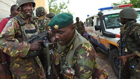 Kenyan Defence Forces are seen at the Garissa University campus after an attack by Somalia's al Qaeda-linked al-Shabaab gunmen in Garissa on April 2, 2015.