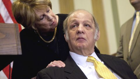 Former White House press secretary James Brady, right, who was left paralyzed in the Reagan assassination attempt, looks at his wife Sarah Brady, during a news conference on Capitol Hill in Washington, Wednesday, march 30, 2011, marking the 30th anniversary of the shooting.