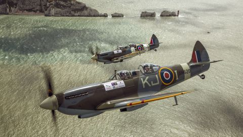 Harry flies in the back of a Spitfire in this undated photo released in 2015. The flight was to promote his Spitfire scholarship, which offers training for wounded service members.