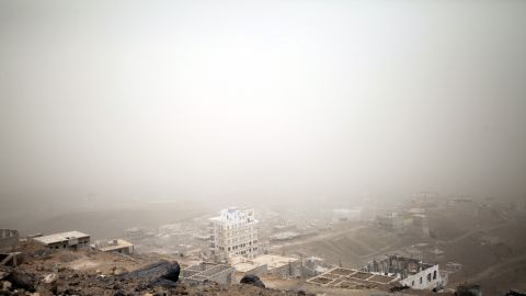 Central Sanaa is covered in dust on Friday, April 3. Airstrikes have turned the bustling capital of Yemen into a ghost town.