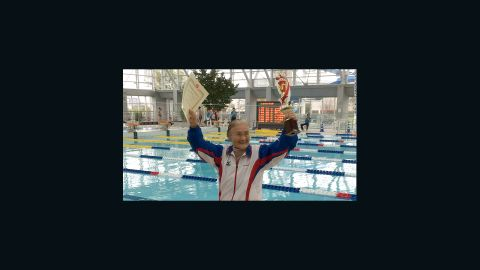 """Mieko Nagaoka, a 100-year-old Japanese woman who became the world's first centenarian to complete a 1,500-meter freestyle swim, hopes to swim until she is 105. She took up swimming<a href=""""http://edition.cnn.com/2015/04/06/sport/100-year-old-swimmer-record-holder/""""> at age 80</a> to help with a knee problem. She credits the exercise with her healthy and long life. She trains four days a week."""