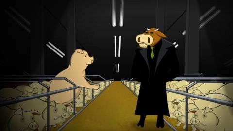 """A scene from """"The Meatrix: Relaunched"""" shows a factory farm."""