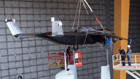 In 2011, the Air Force tested this 23% scale model of a proposed short takeoff and landing aircraft called Speed Agile at a facility in Ohio.