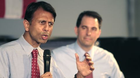 Jindal campaigns for Wisconsin Gov. Scott Walker in Waukesha, Wisconsin, on May 24, 2012.