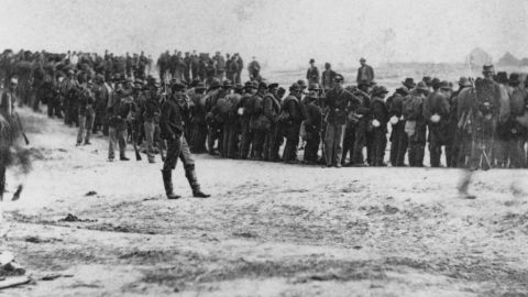 Confederate prisoners being held under guard on April 2, 1865, after the Battle of Five Forks, Virginia, a pivotal event in the closing days of the Civil War.