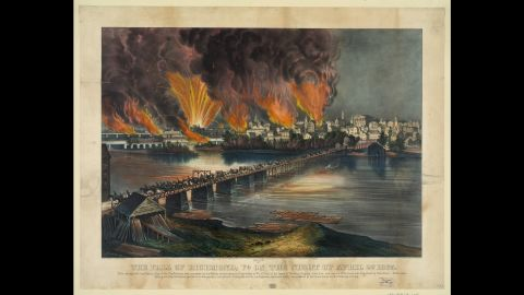 Richmond, the Confederate capital, fell on April 3, 1865.  Jefferson Davis, the Confederacy's president, fled the town the evening before.