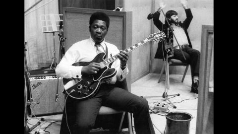 """King sits in a studio with drummer Ringo Starr during the recording of his album """"B.B. King in London"""" in 1971."""
