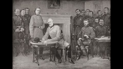 Lee surrenders to Grant at Appomattox Courthouse, Virginia, on April 9, 1865. It was only after 25 minutes of friendly small talk that the two men got around to discussing the terms of the surrender.