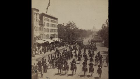 Officials, including the President and Cabinet and Grant, review the victorious Union armies in Washington in late May 1865.
