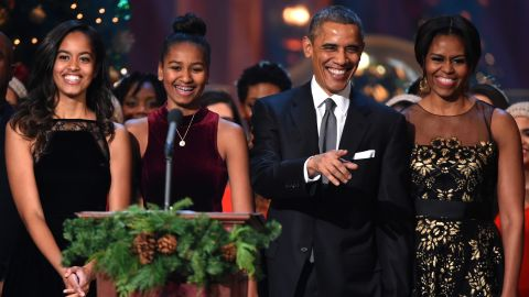 """The first family takes the stage during a taping of the """"Christmas in Washington"""" program in December 2014."""