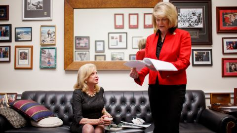 Carolyn Maloney, left, is a New York Democrat who has been fighting to pass and ratify the Equal Rights Amendment for 20 years. Every congressional session, she has reintroduced the amendment -- and this new GOP-led session will be no exception. This time, though, she has a new -- and unlikely -- ally: Cynthia Lummis, a Tea Partier from Wyoming. Here, Lummis looks over a list of potential ERA supporters in Congress.