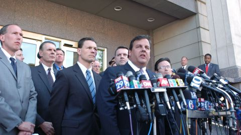 Before getting into politics, Christie was a New Jersey attorney. Here Christie speaks with the media on May 8, 2007, outside the federal courthouse in Camden, New Jersey, after six men were arrested on charges of planning to attack the Fort Dix military base.