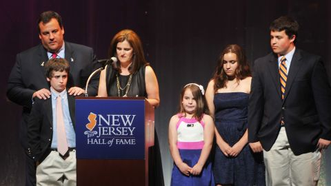 Christie, his wife, Mary Pat Christie, and their children attend the third annual New Jersey Hall of Fame Induction Ceremony in Newark, New Jersey, on May 2, 2010.