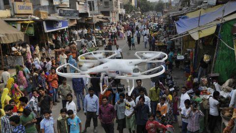Delhi police deployed camera-equipped drones for surveillance in Trilokpuri on October 28, 2014.