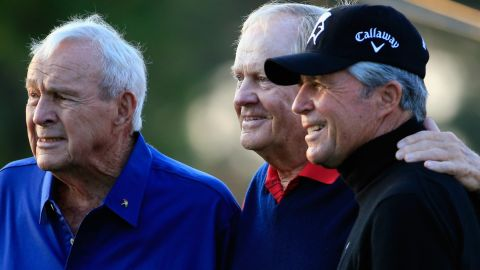 Nicklaus won a record six Masters titles, and is one of the honorary starters each year at Augusta with fellow golf legends Arnold Palmer (left) and Gary Player (right).
