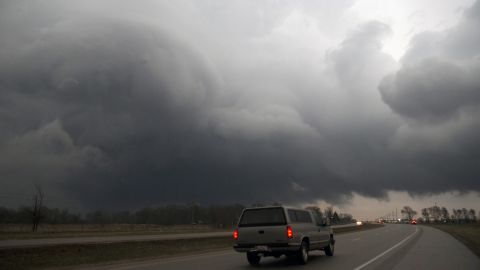 A storm moves over U.S. Route 20 in Belvidere, Illinois, on April 9.