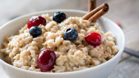 Craving carbohydrates when you're stressed? Reach for oatmeal rather than a doughnut. It can help your brain produce serotonin without adding a spike to your blood sugar.
