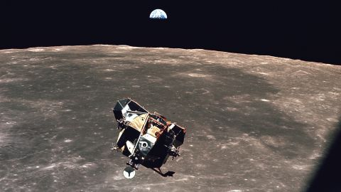 """The Eagle lunar module of Apollo 11 ascends from the surface of Earth's moon in 1969. The <a href=""""http://www.space.com/27388-nasa-moon-mining-missions-water.html"""" target=""""_blank"""" target=""""_blank"""">presence of water on the moon</a> has been confirmed by scientists."""