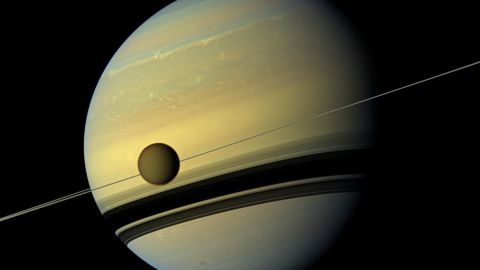 """NASA's Cassini mission has evidence of an ocean inside Saturn's largest moon, <a href=""""http://science.nasa.gov/science-news/science-at-nasa/2014/02jul_saltyocean/"""" target=""""_blank"""" target=""""_blank"""">Titan</a>, which might be as salty as the Earth's Dead Sea."""
