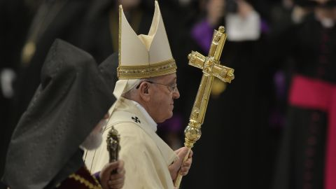 Caption:Pope Francis leaves at the end of an Armenian-Rite Mass marking 100 years since the mass killings of Armenians under the Ottoman Empire, on April 12, 2015 at St Peter's basilica in Vatican. Pope Francis faces a key diplomatic test today as he marks the centenary of the mass killings of Armenians and elects whether to use the word 'genocide', at the risk of alienating Turkey. AFP PHOTO / ANDREAS SOLARO (Photo credit should read ANDREAS SOLARO/AFP/Getty Images)
