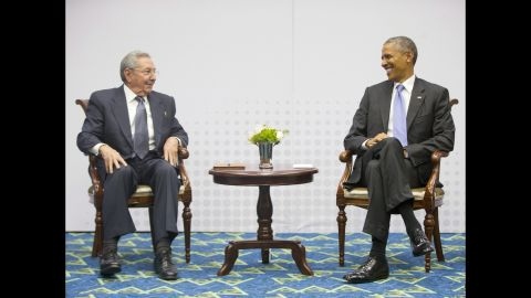President Barack Obama holds a historic, joint press meeting with Cuban President Raul Castro at the Summit of the Americas in Panama City, Panama, on Saturday, April 11.