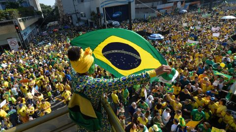 Demonstrators rally to protest against the government of Brazilian President Dilma Rousseff along Paulista Avenue in Sao Paulo, Brazil on April 12, 2015.