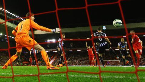 Newcastle goalkeeper Tim Krul is helpless as Joe Allen scores Liverpool's second goal in the 70th minute.