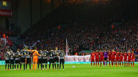 Before the match at Anfield, fans, players and officials marked the upcoming 26th anniversary of the Hillsborough tragedy with a minute's silence.