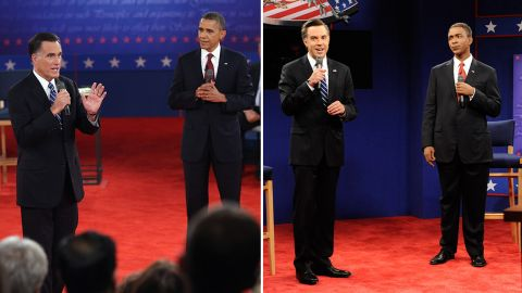 """""""Saturday Night Live"""" often mocks presidential debates soon after they happened. Jason Sudeikis and Jay Pharoah portrayed Mitt Romney and Obama in 2012."""