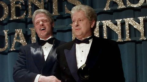 """President Bill Clinton laughs with lookalike Darrell Hammond at the annual dinner of the Radio and Television Correspondents' Association in 1997. Hammond portrayed Clinton on """"Saturday Night Live."""""""